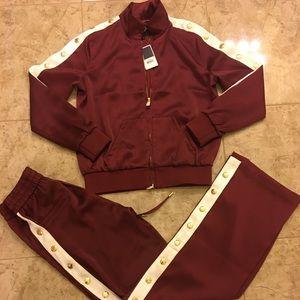 Juicy Couture burgundy satin hoodie & pant S/M